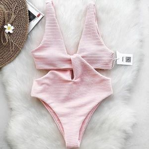 Cupshe Coral Pink Twist Front One Piece Swimsuit